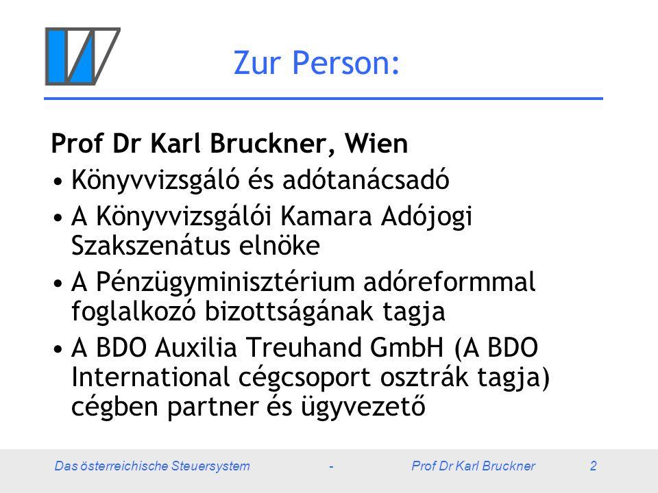 Zur Person: Prof Dr Karl Bruckner, Wien Könyvvizsgáló és adótanácsadó