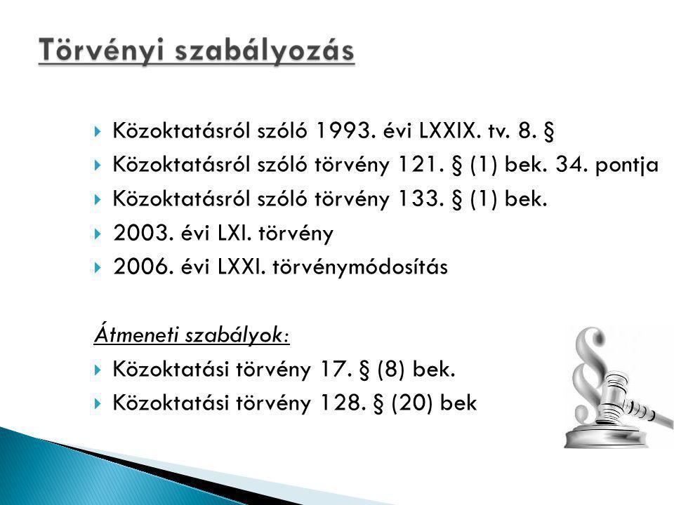 Közoktatásról szóló 1993. évi LXXIX. tv. 8. §