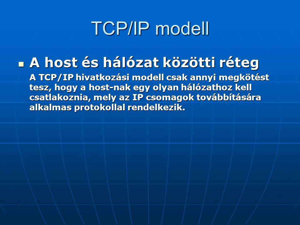 TCP/IP modell A host és hálózat közötti réteg