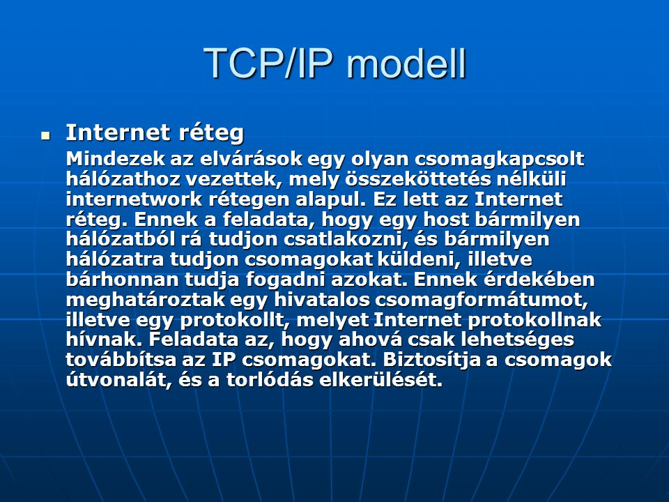 TCP/IP modell Internet réteg