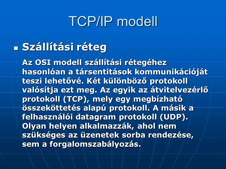 TCP/IP modell Szállítási réteg