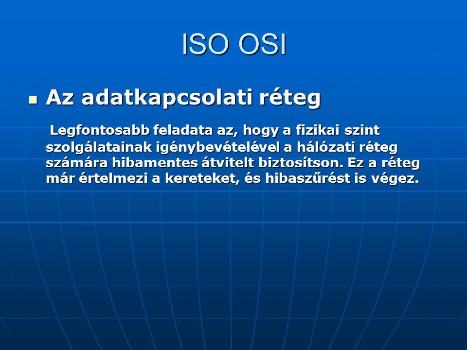 ISO OSI Az adatkapcsolati réteg