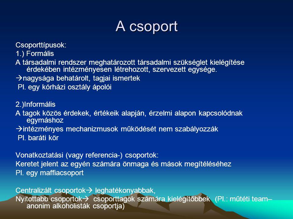 A csoport Csoporttípusok: 1.) Formális