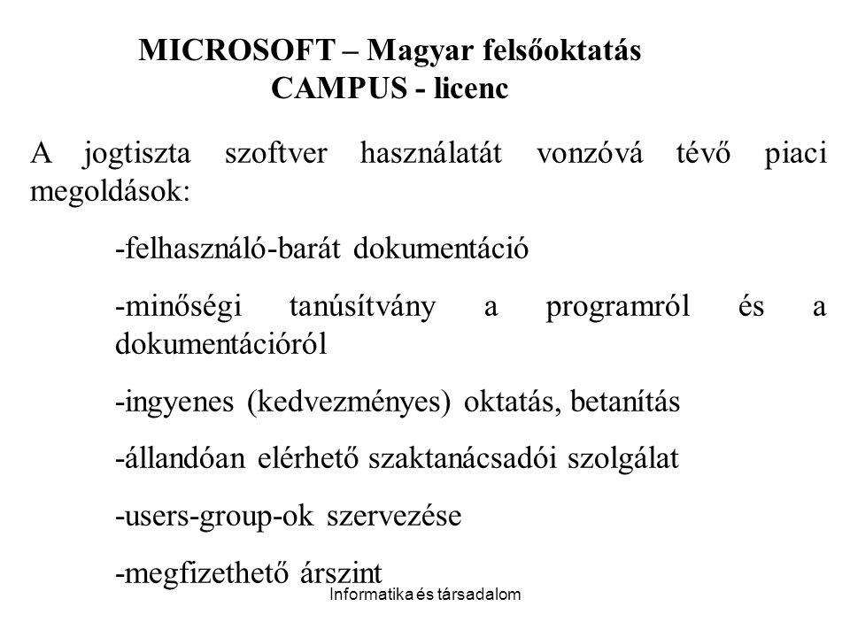MICROSOFT – Magyar felsőoktatás CAMPUS - licenc