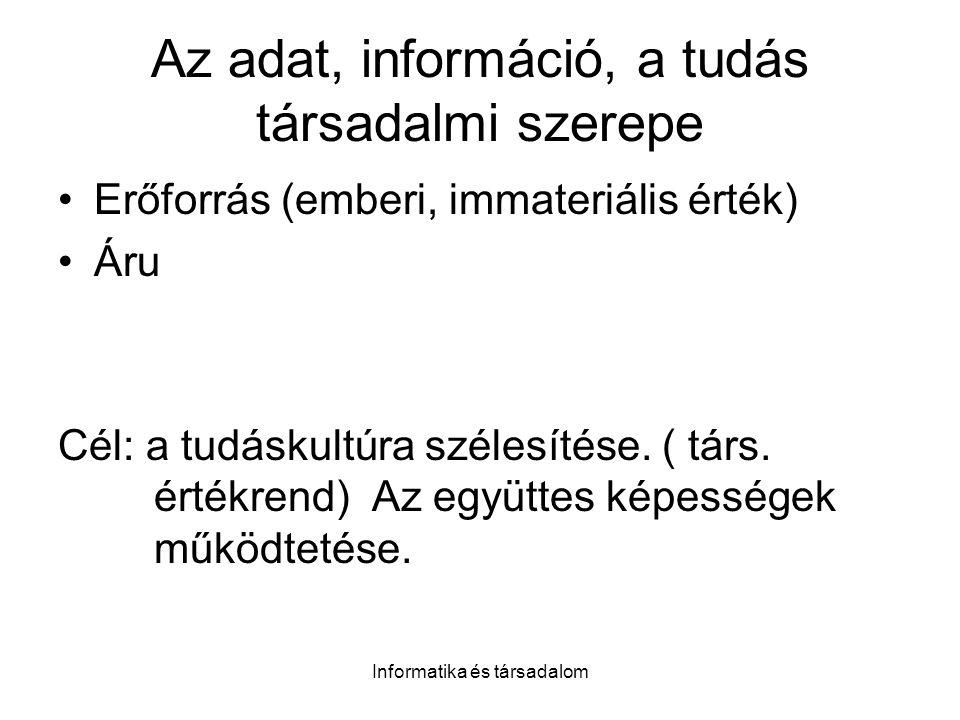 Az adat, információ, a tudás társadalmi szerepe