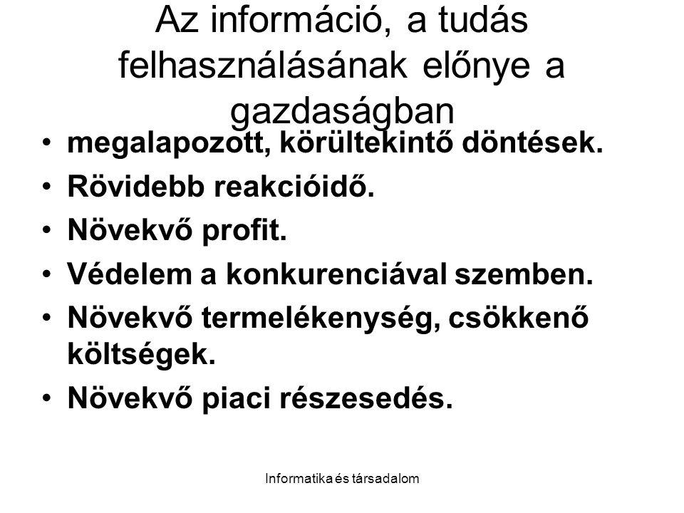 Az információ, a tudás felhasználásának előnye a gazdaságban