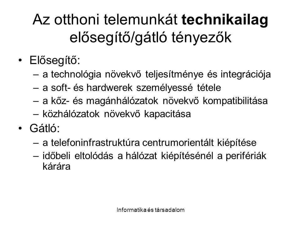 Az otthoni telemunkát technikailag elősegítő/gátló tényezők