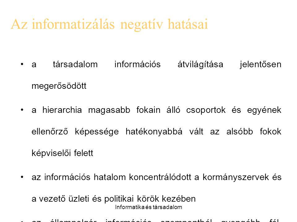 Az informatizálás negatív hatásai