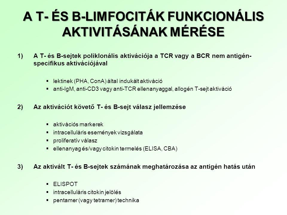 A T- ÉS B-LIMFOCITÁK FUNKCIONÁLIS AKTIVITÁSÁNAK MÉRÉSE