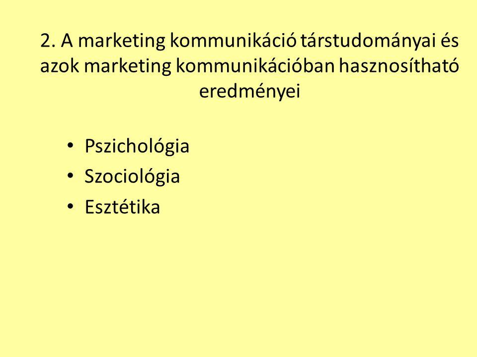 2. A marketing kommunikáció társtudományai és azok marketing kommunikációban hasznosítható eredményei
