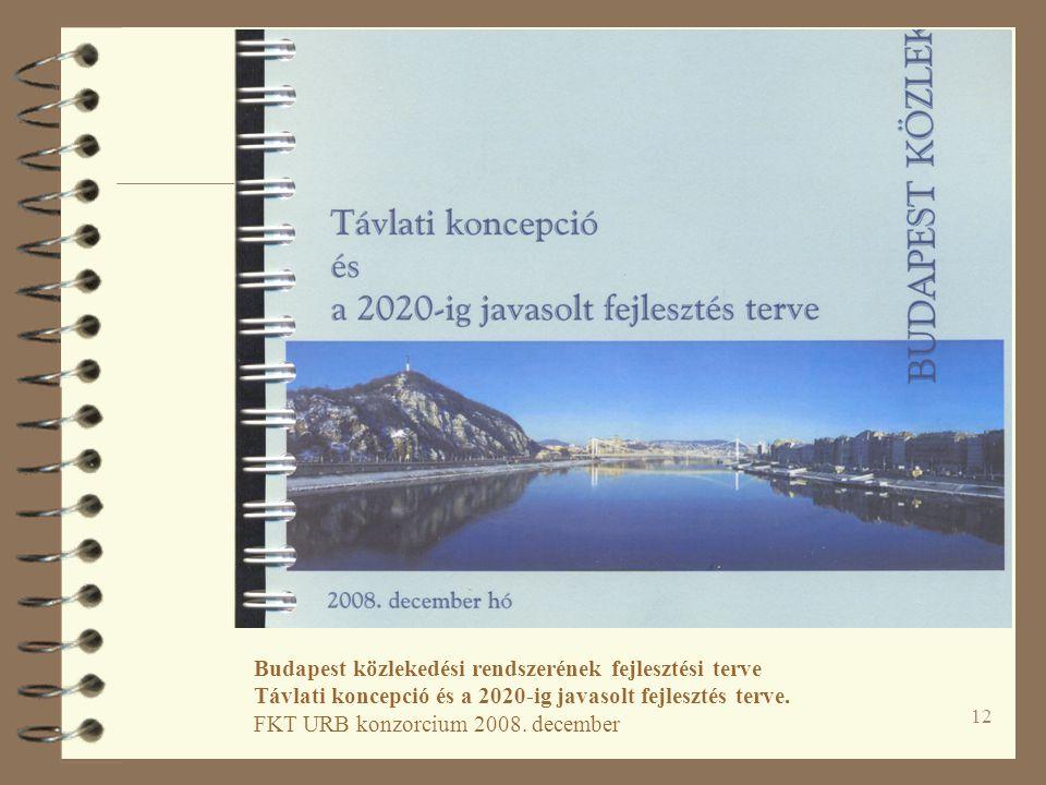 Budapest közlekedési rendszerének fejlesztési terve Távlati koncepció és a 2020-ig javasolt fejlesztés terve. FKT URB konzorcium 2008. december.
