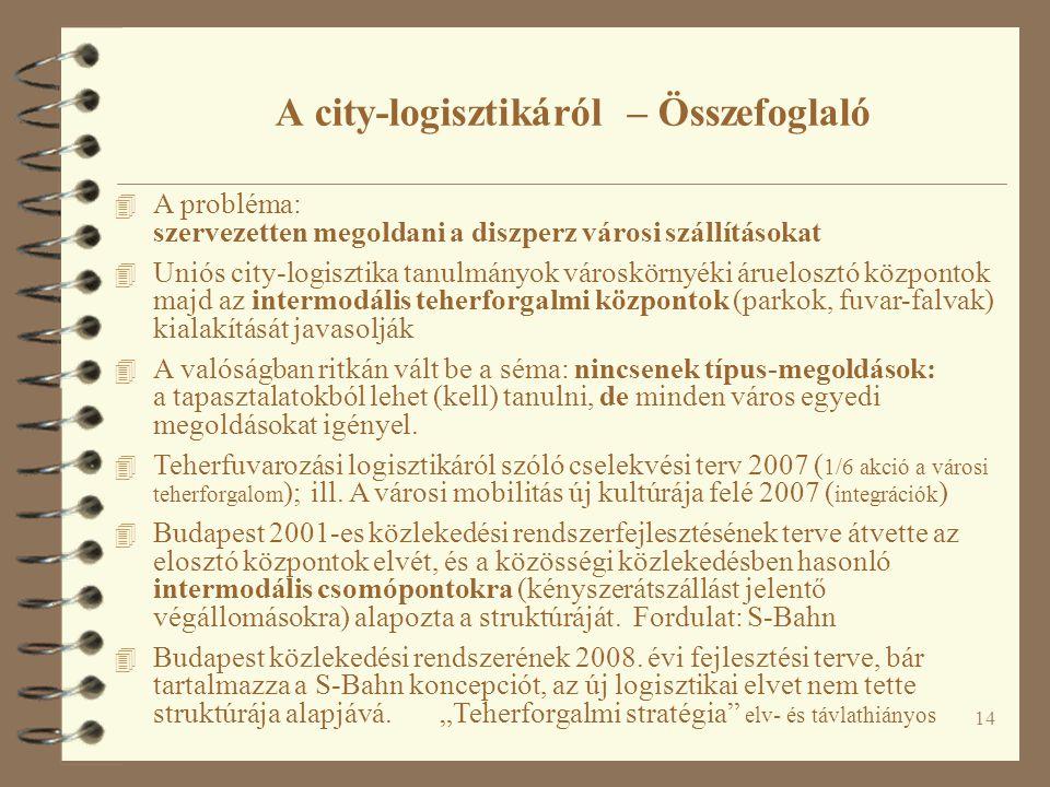 A city-logisztikáról – Összefoglaló