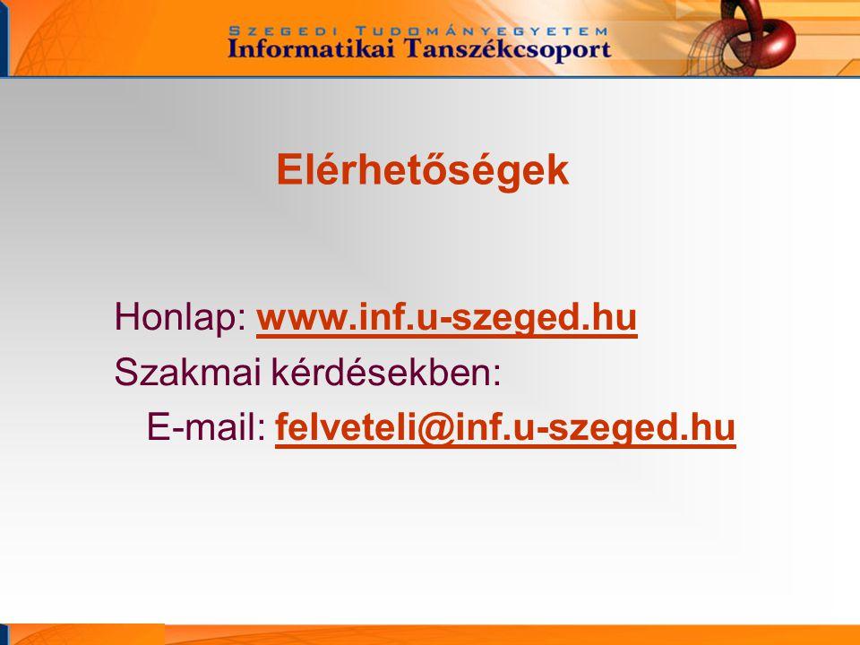 Elérhetőségek Honlap: www.inf.u-szeged.hu Szakmai kérdésekben: