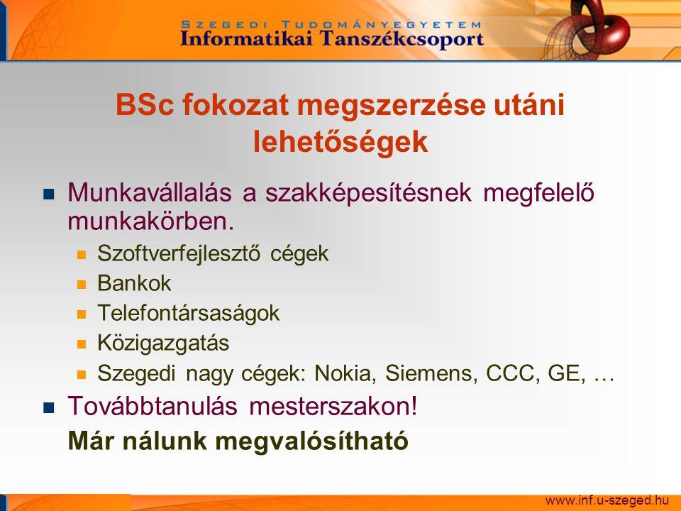 BSc fokozat megszerzése utáni lehetőségek