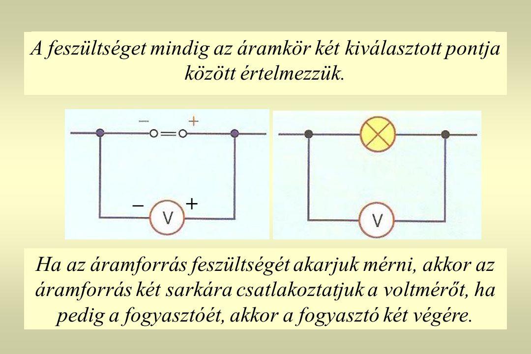 A feszültséget mindig az áramkör két kiválasztott pontja között értelmezzük.