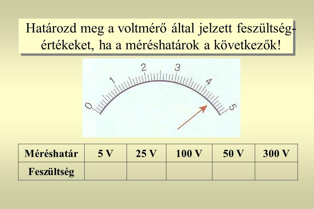 Határozd meg a voltmérő által jelzett feszültség-értékeket, ha a méréshatárok a következők!