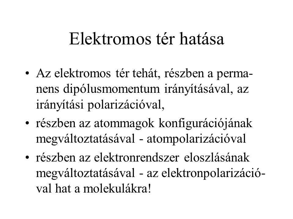 Elektromos tér hatása Az elektromos tér tehát, részben a perma-nens dipólusmomentum irányításával, az irányítási polarizációval,