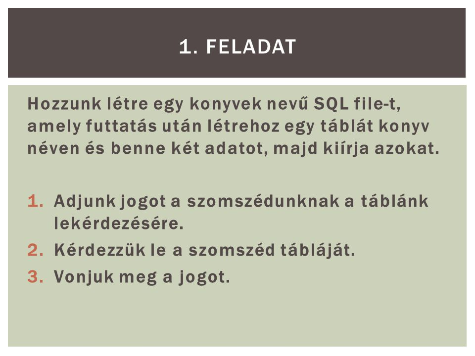 1. FELADAT Hozzunk létre egy konyvek nevű SQL file-t, amely futtatás után létrehoz egy táblát konyv néven és benne két adatot, majd kiírja azokat.