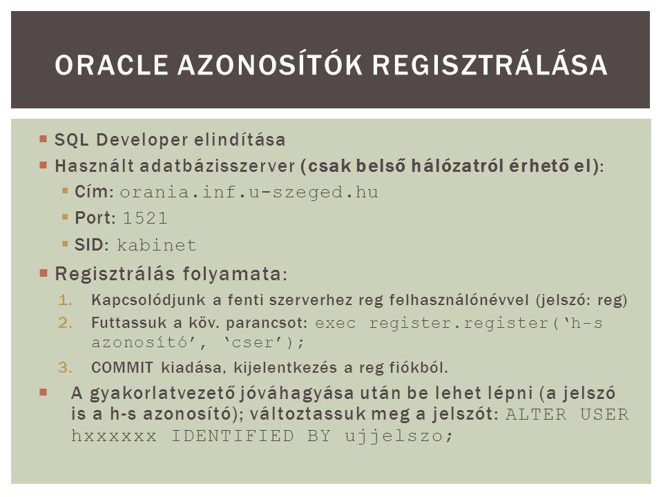 Oracle azonosítók regisztrálása