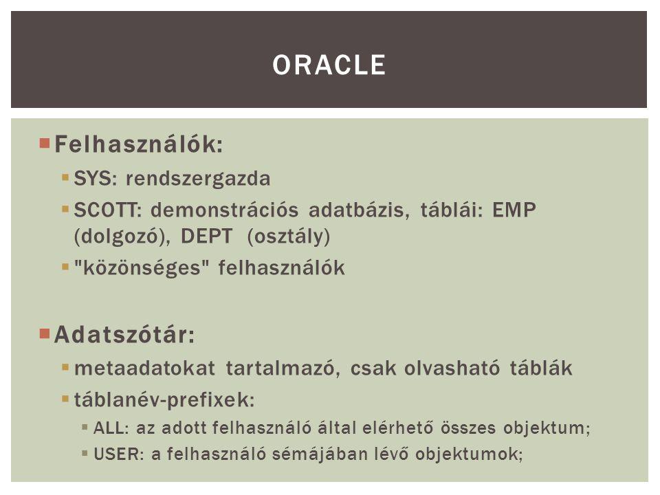 Oracle Felhasználók: Adatszótár: SYS: rendszergazda