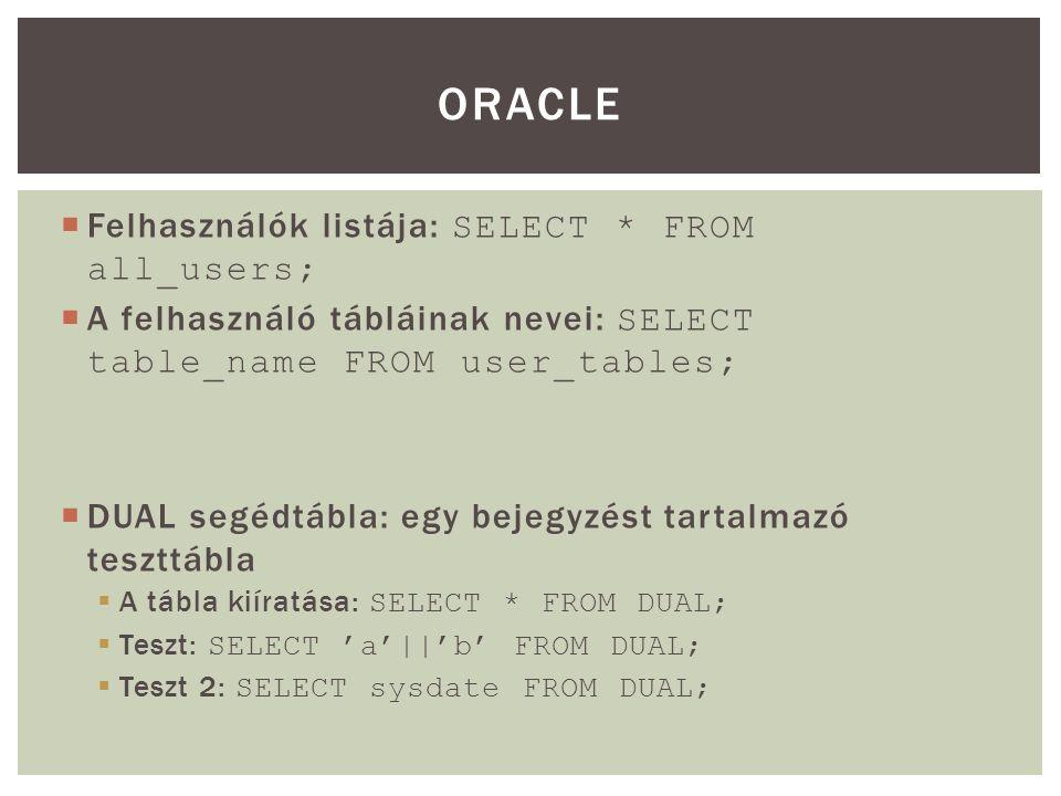 ORACLE Felhasználók listája: SELECT * FROM all_users;