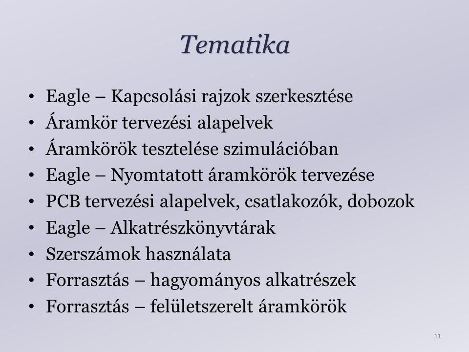 Tematika Eagle – Kapcsolási rajzok szerkesztése