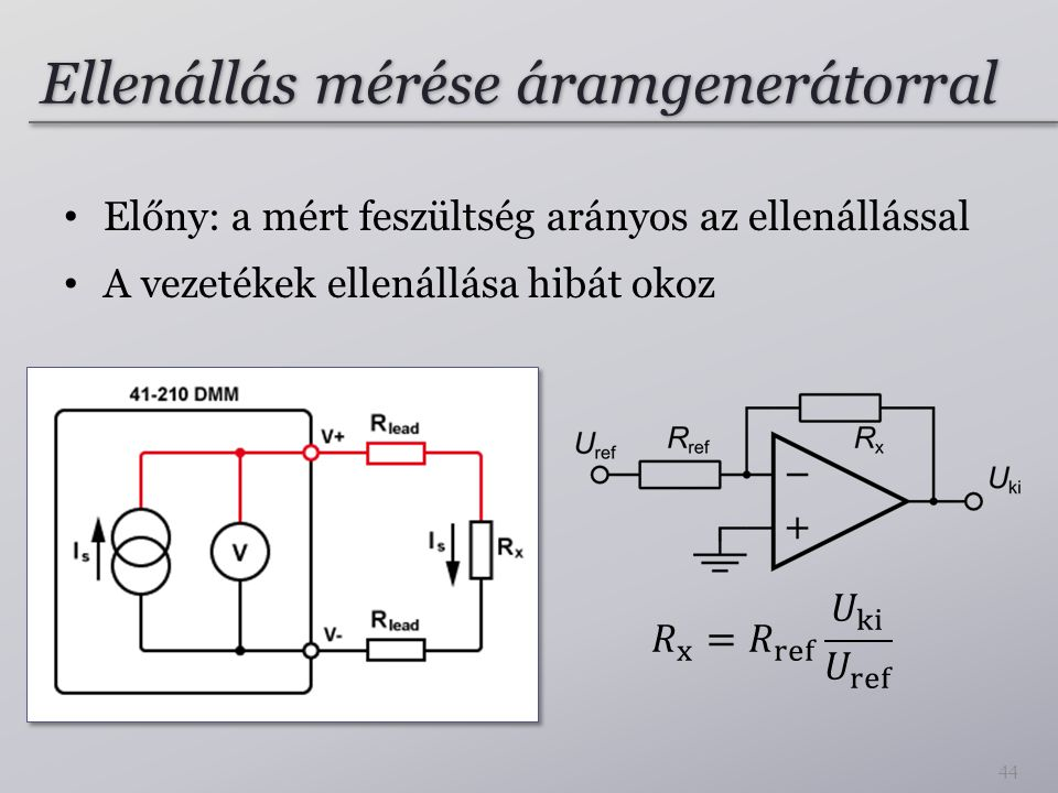 Ellenállás mérése áramgenerátorral