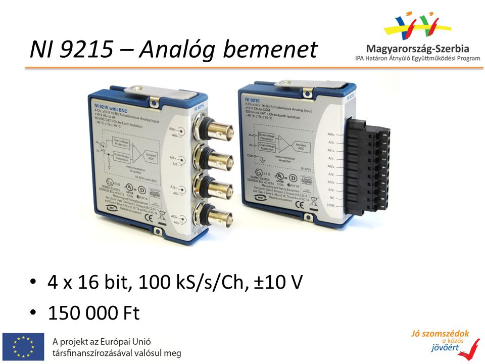 NI 9215 – Analóg bemenet 4 x 16 bit, 100 kS/s/Ch, ±10 V 150 000 Ft