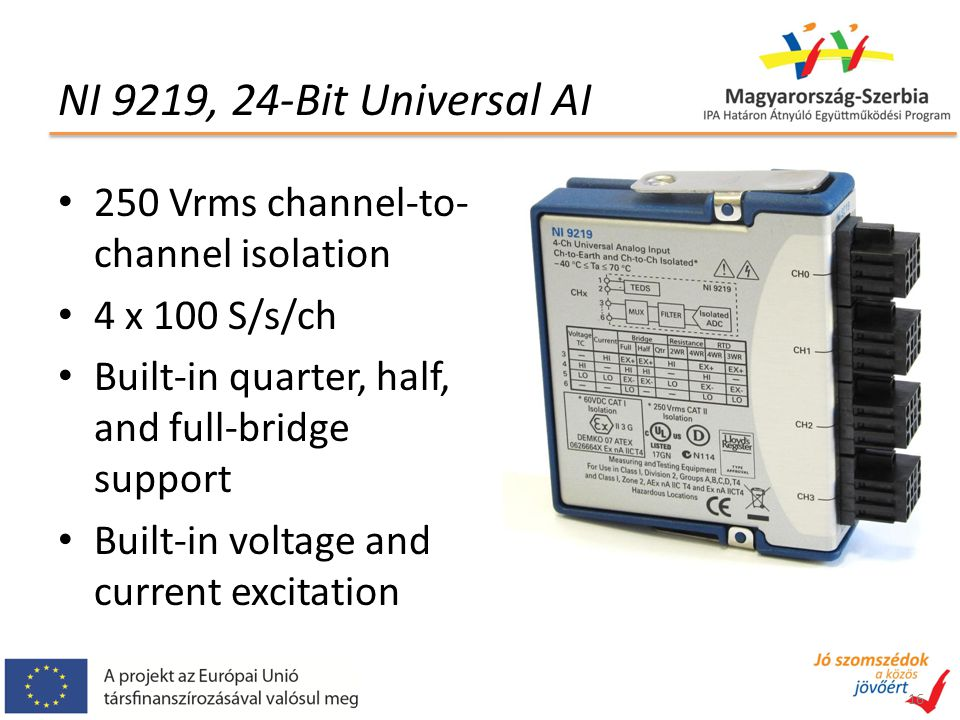 NI 9219, 24-Bit Universal AI 250 Vrms channel-to-channel isolation
