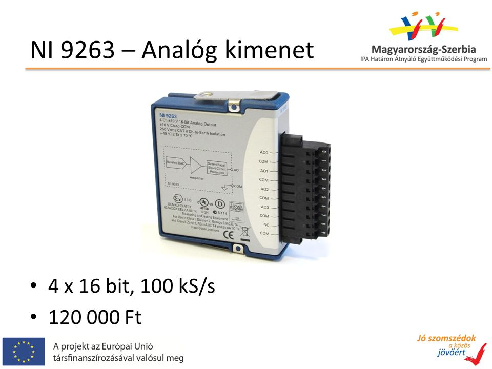NI 9263 – Analóg kimenet 4 x 16 bit, 100 kS/s 120 000 Ft