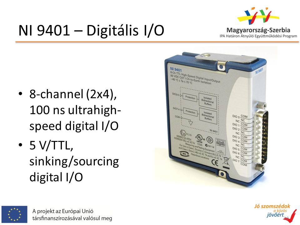NI 9401 – Digitális I/O 8-channel (2x4), 100 ns ultrahigh-speed digital I/O.