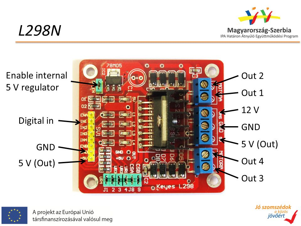 L298N Enable internal Out 2 5 V regulator Out 1 12 V Digital in GND