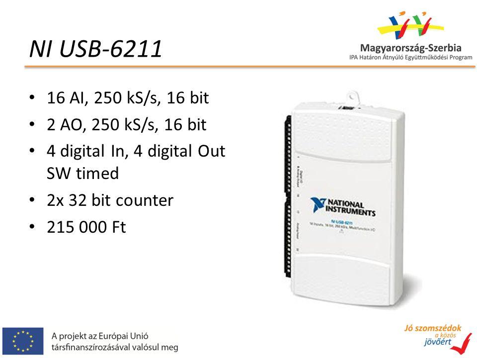 NI USB-6211 16 AI, 250 kS/s, 16 bit 2 AO, 250 kS/s, 16 bit