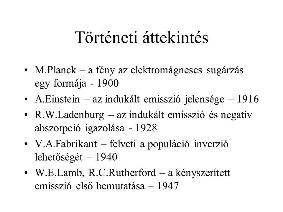 Történeti áttekintés M.Planck – a fény az elektromágneses sugárzás egy formája - 1900. A.Einstein – az indukált emisszió jelensége – 1916.