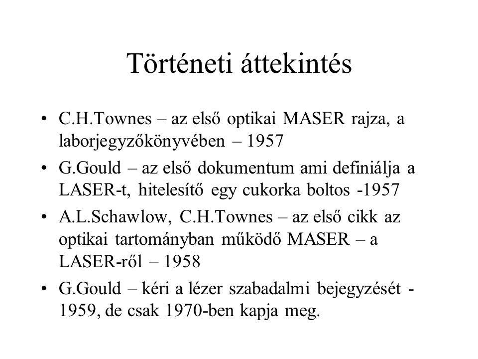 Történeti áttekintés C.H.Townes – az első optikai MASER rajza, a laborjegyzőkönyvében – 1957.