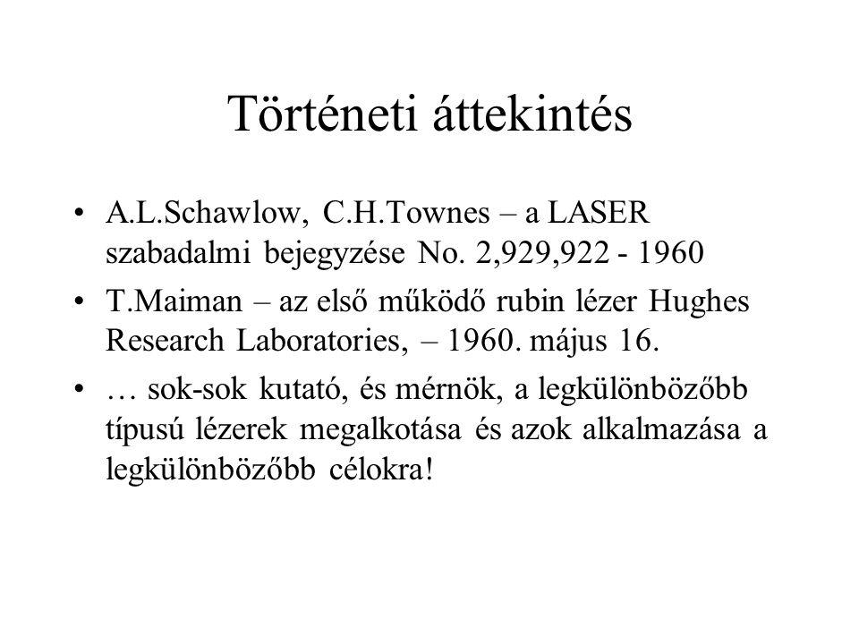 Történeti áttekintés A.L.Schawlow, C.H.Townes – a LASER szabadalmi bejegyzése No. 2,929,922 - 1960.