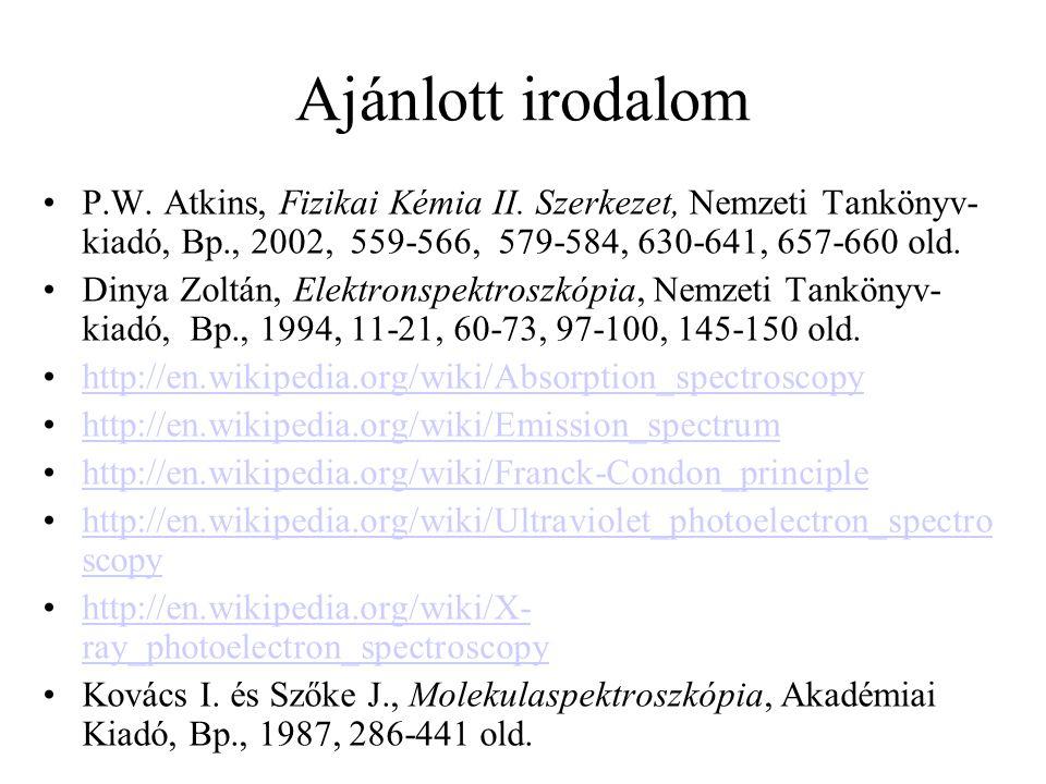 Ajánlott irodalom P.W. Atkins, Fizikai Kémia II. Szerkezet, Nemzeti Tankönyv-kiadó, Bp., 2002, 559-566, 579-584, 630-641, 657-660 old.