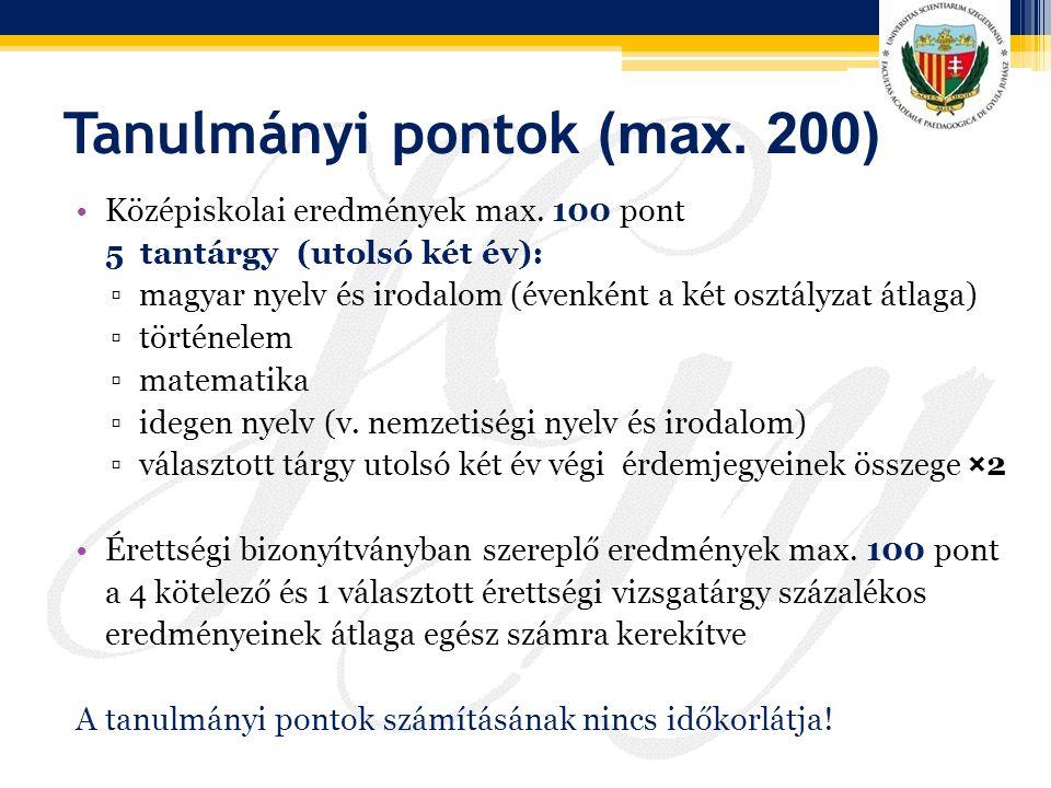 Tanulmányi pontok (max. 200)