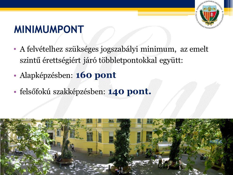 MINIMUMPONT A felvételhez szükséges jogszabályi minimum, az emelt szintű érettségiért járó többletpontokkal együtt: