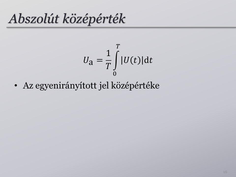Abszolút középérték 𝑈 a = 1 𝑇 0 𝑇 𝑈 𝑡 d𝑡
