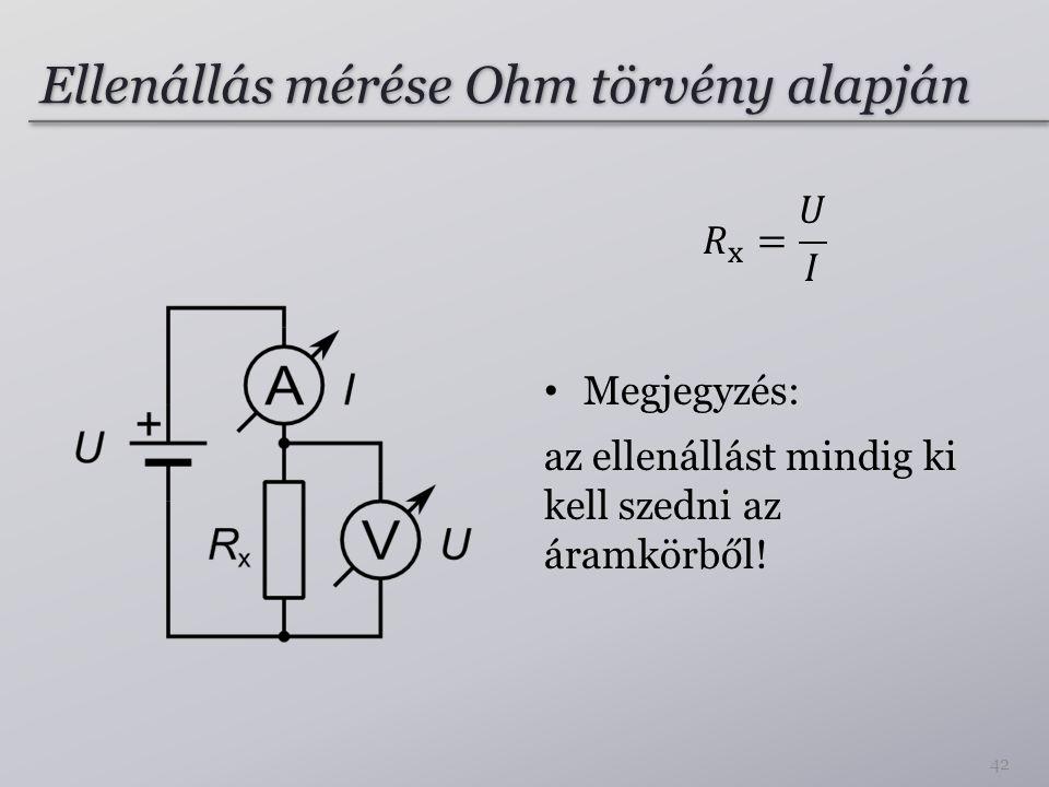 Ellenállás mérése Ohm törvény alapján