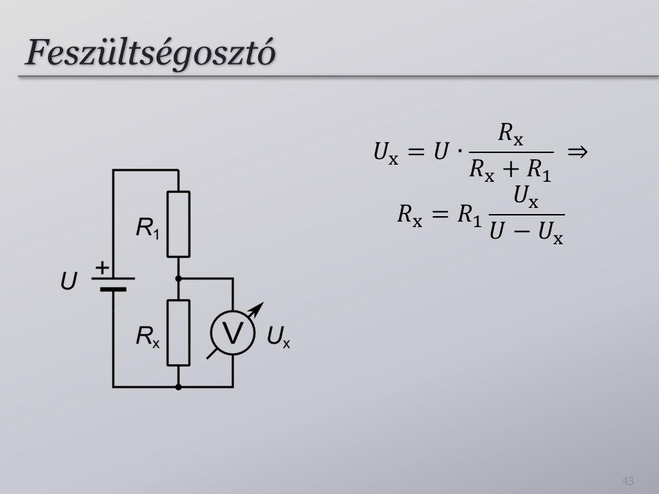 Feszültségosztó 𝑈 x =𝑈∙ 𝑅 x 𝑅 x + 𝑅 1 ⇒ 𝑅 x = 𝑅 1 𝑈 x 𝑈− 𝑈 x