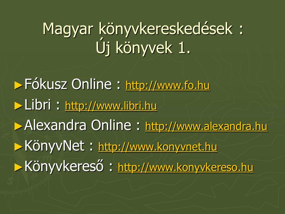 Magyar könyvkereskedések : Új könyvek 1.