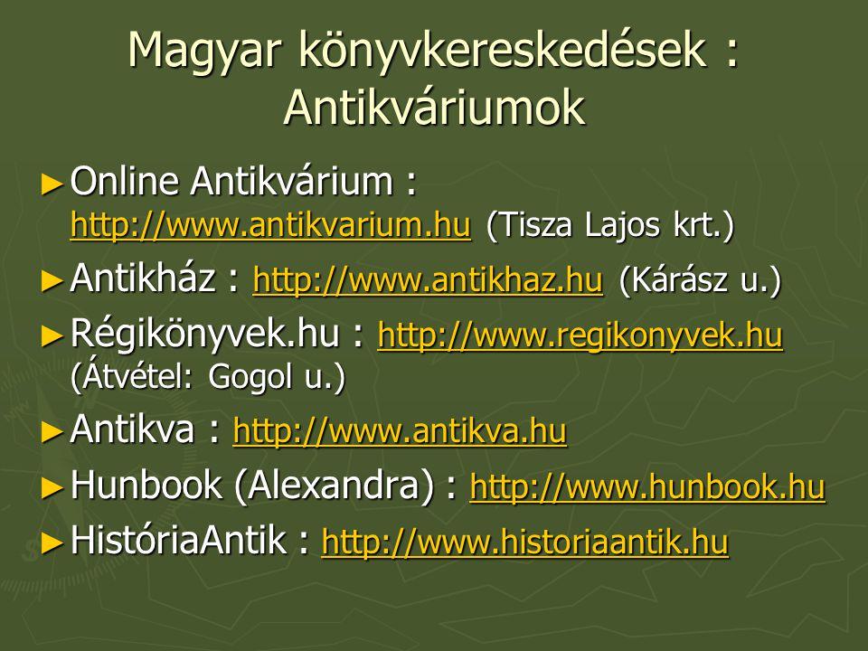 Magyar könyvkereskedések : Antikváriumok