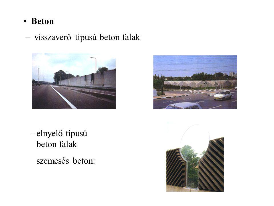 – visszaverő típusú beton falak
