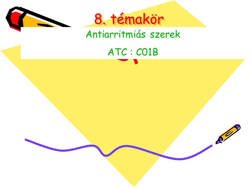 8. témakör Antiarritmiás szerek ATC : C01B