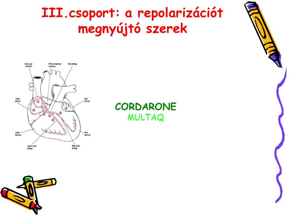 III.csoport: a repolarizációt megnyújtó szerek