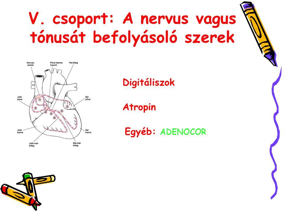 V. csoport: A nervus vagus tónusát befolyásoló szerek