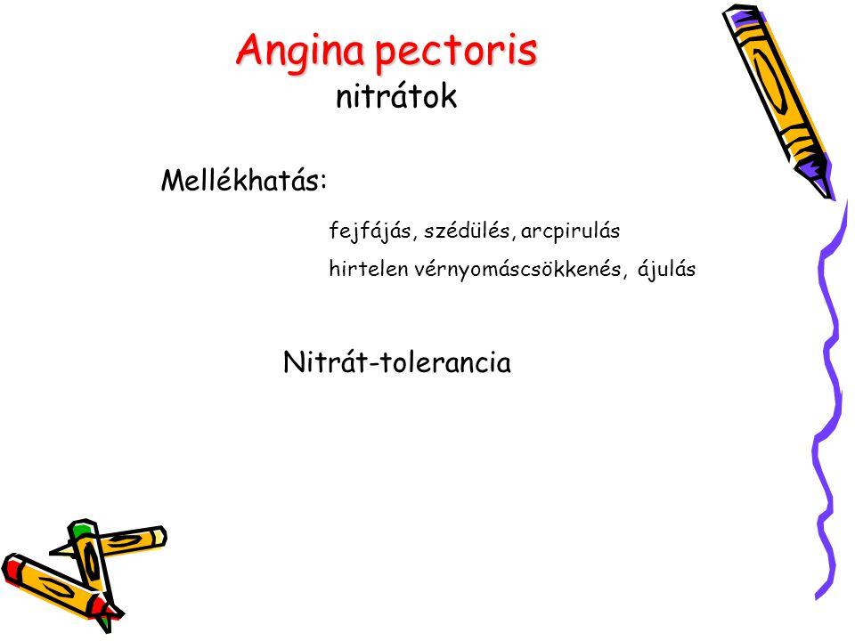 Angina pectoris nitrátok Mellékhatás: Nitrát-tolerancia