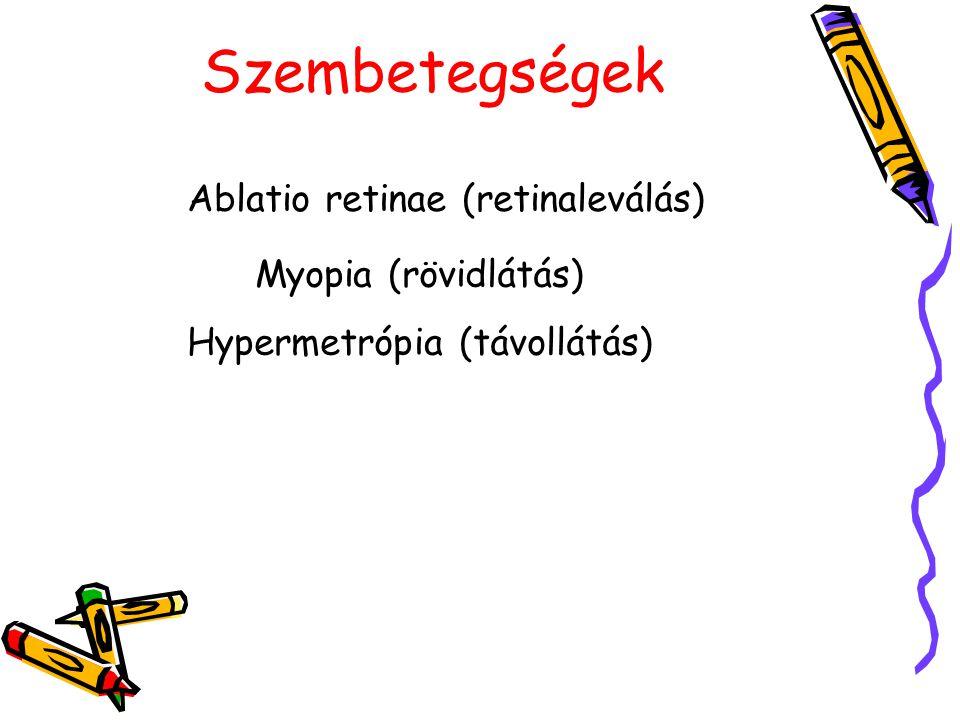 Szembetegségek Ablatio retinae (retinaleválás) Myopia (rövidlátás)